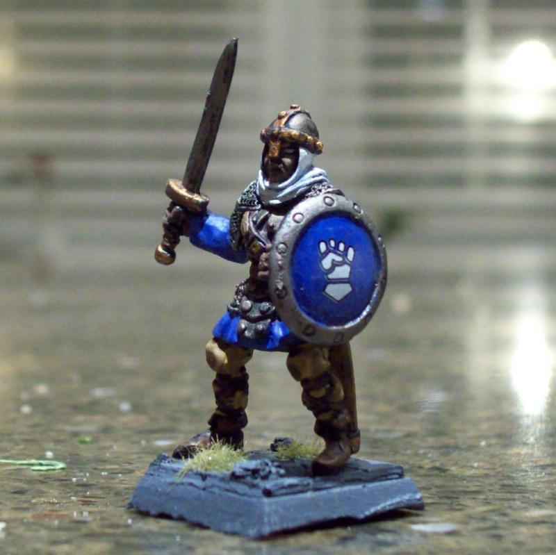 Bored, Fighter, Human, Male, Reaper Mini, Shield, Swordsman