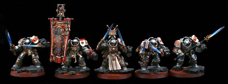 Base, Command Squad, Gray Knights, Grey Knights, Terminator Armor, Warhammer Fantasy