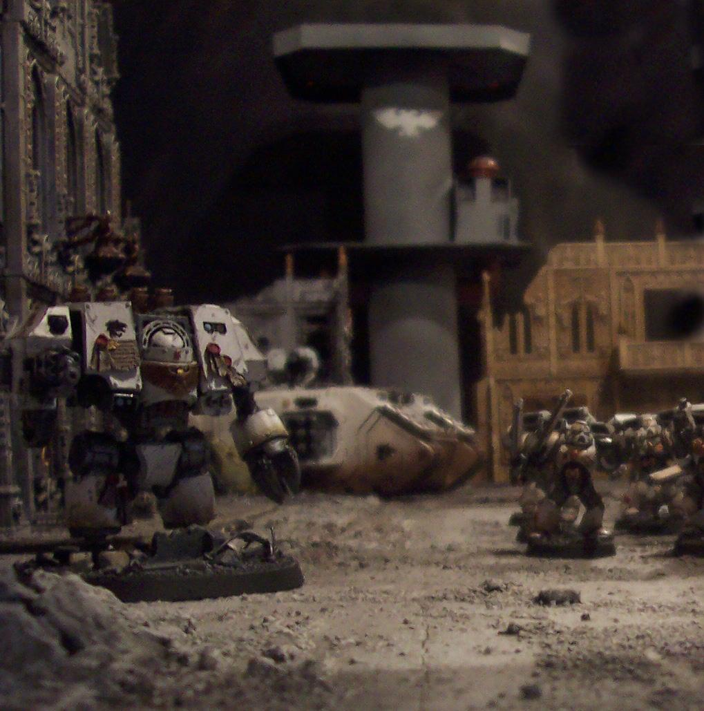Action, Battle Report, Celestial Lions, Cities Of Death, Dreadnought, Game Table, Land Raider, Terrain