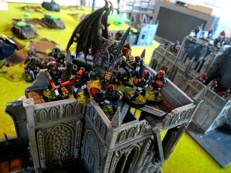 Battle Report, daemon prince jumps ontop of building and assults snipers