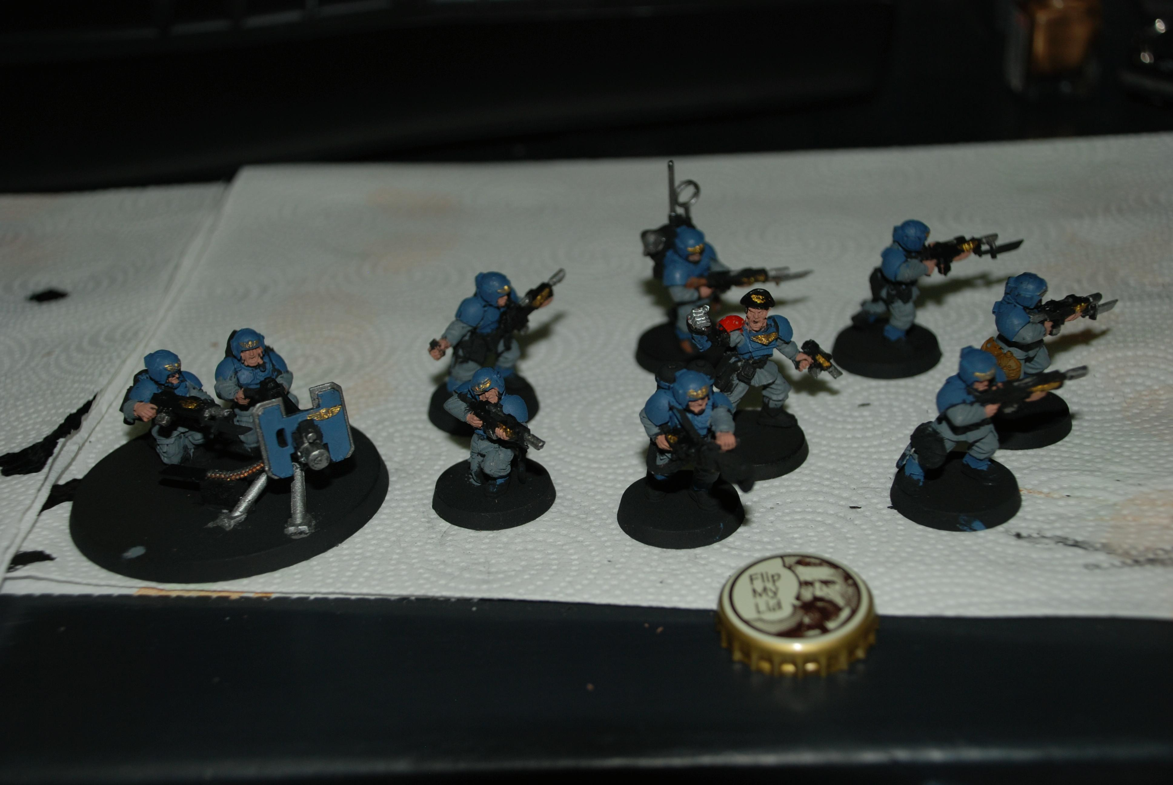 Blue, Bottle Cap, Cadians, Grey, Heavy Weapons Team, Imperial Guard, Troops, Warhammer 40,000