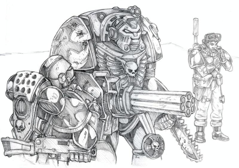 Drawing, Scouts, Sketch, Terminator Armor