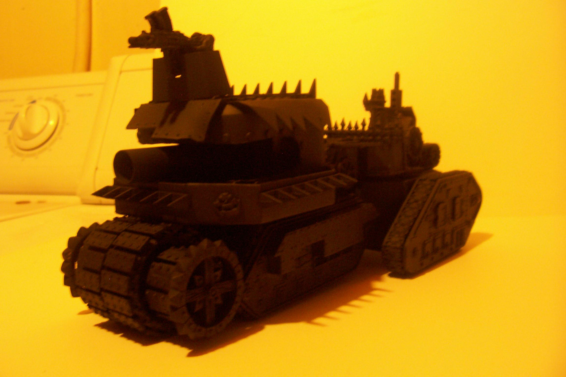 Battlewagon, Conversion, Leman Russ, Looted, Orks, Primered, Tank, Vehicle, Warhammer 40,000