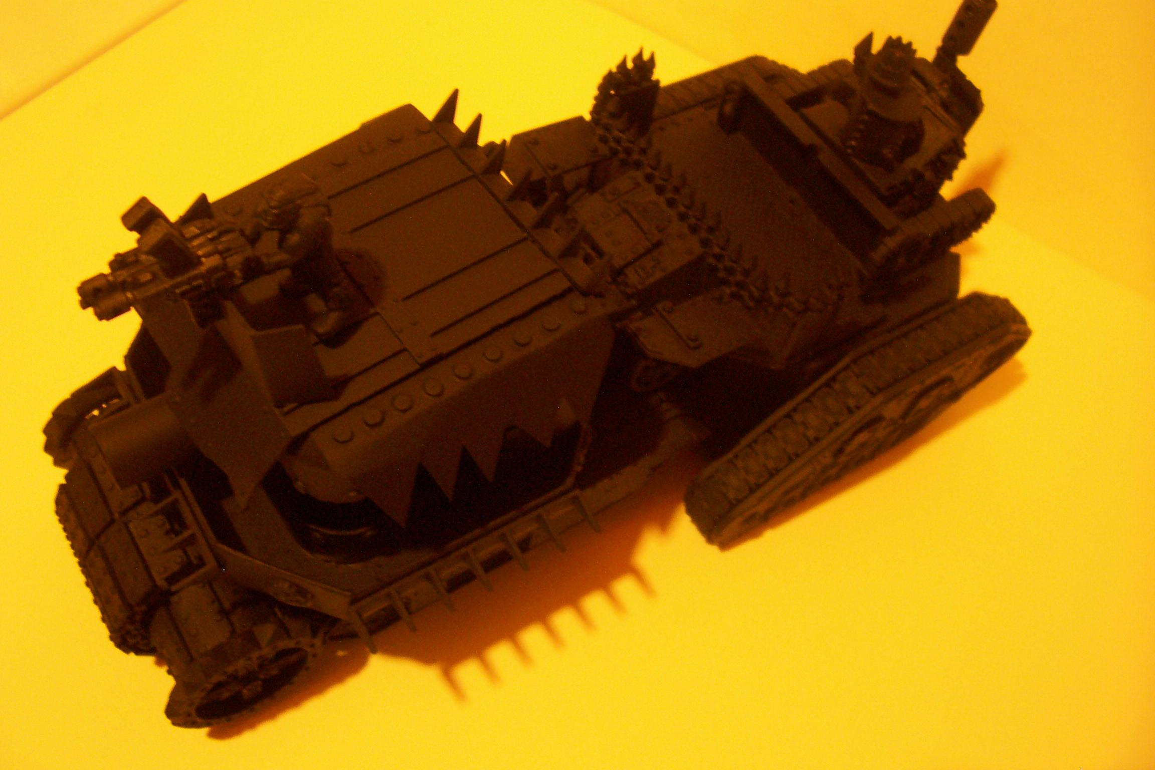 Battlewagon, Conversion, Deffrolla, Leman Russ, Looted, Orks, Primered, Tank, Vehicle, Warhammer 40,000