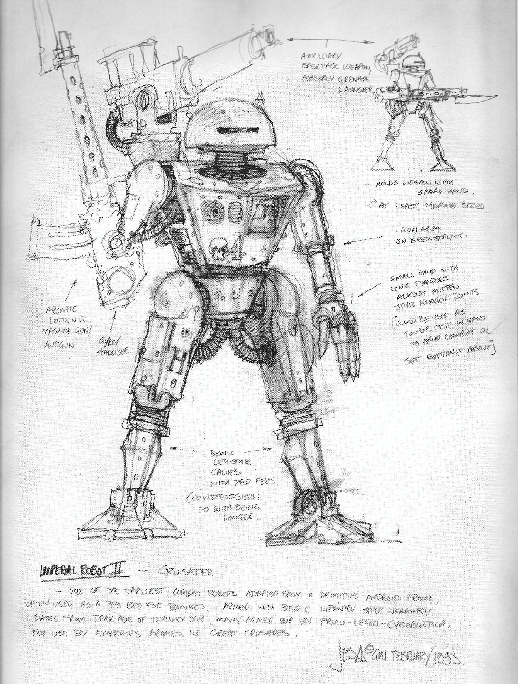 Artwork, Copyright Games Workshop, Gothic And The Eldrich, Jes Goodwin, Robot, Warhammer 40,000