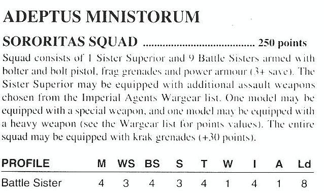 2nd Edition, Black Codex, Rules, Sisters Of Battle