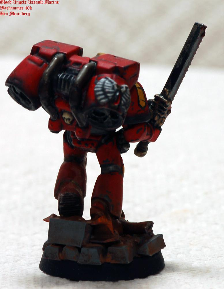 Action, Assault, Base, Blood Angels, Chainsword, Red, Scenic, Space Marines, Weathered