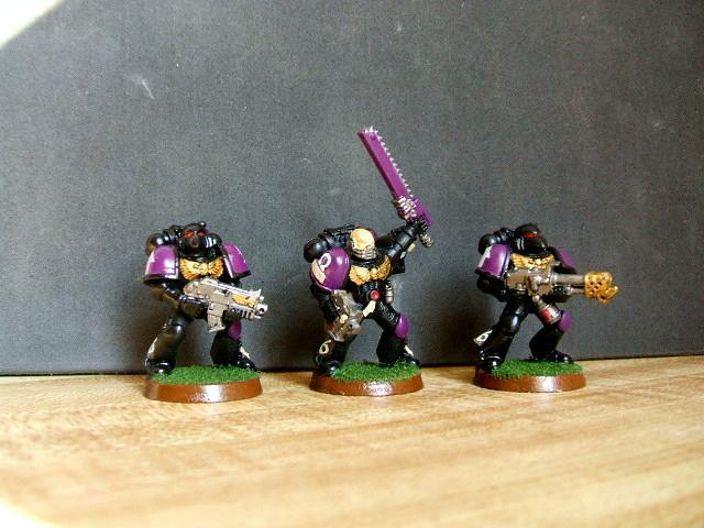 Black, Captain, Flamer, Purple, Space Marines