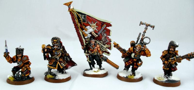 Vostroyan Scions: Banner, Command Squad, Games Workshop, Headquarters