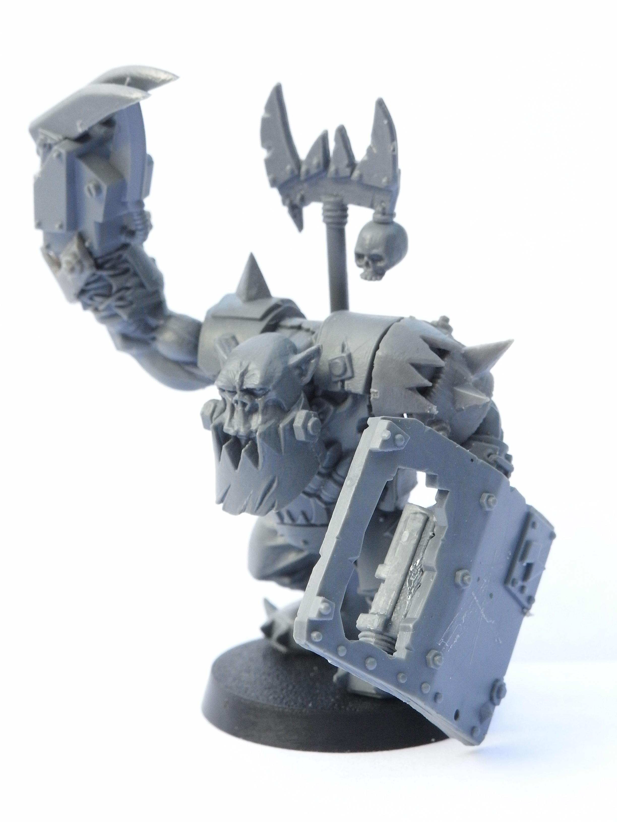 'ard Boyz, Armor, Bosspole, Boy, Nob, Orks, Power Klaw, Shield, Spikes, Work In Progress