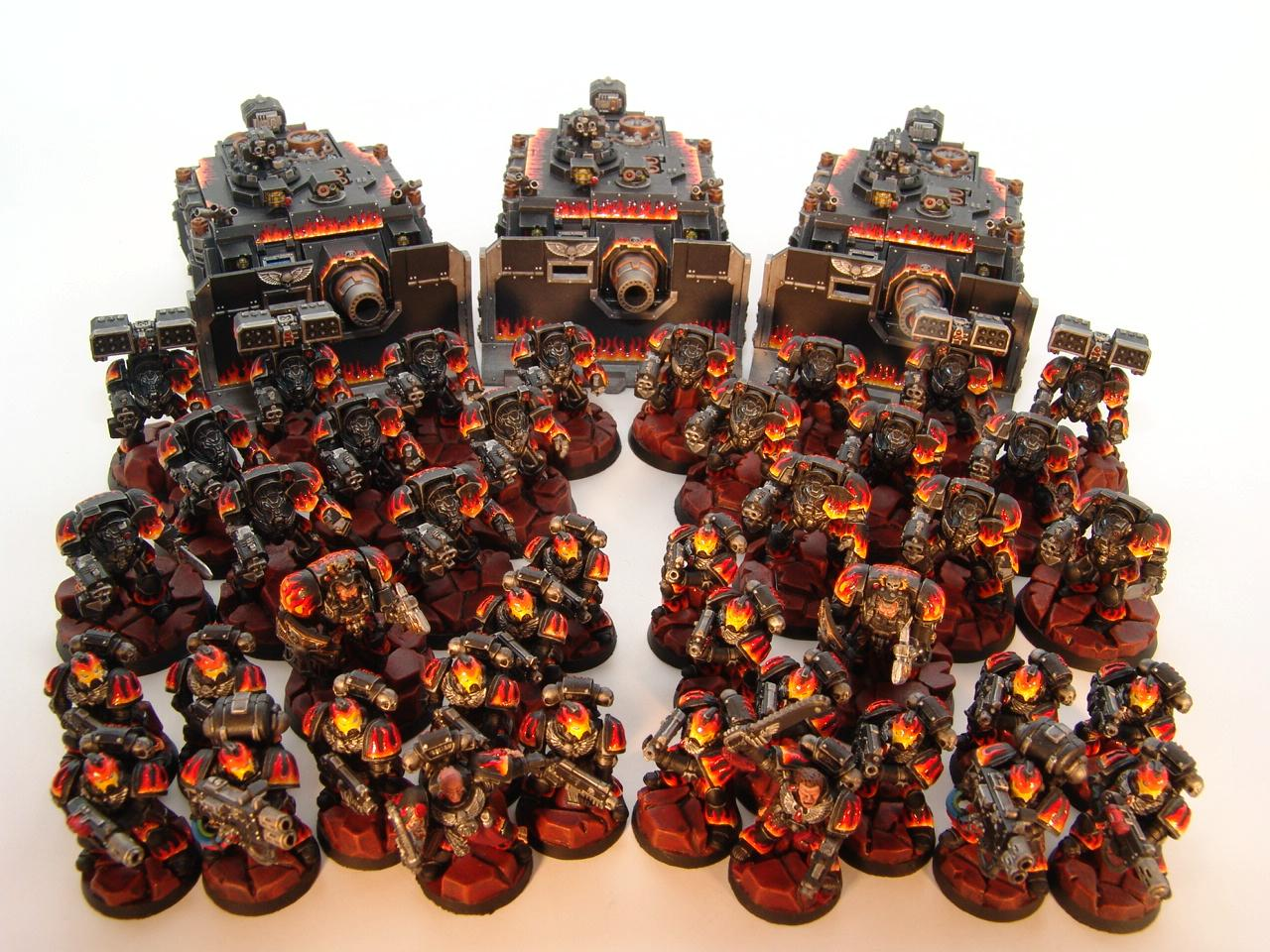 Flames, Infernus Chapter, Space Marines, Tactical, Terminator Armor, Vindicator, Warhammer 40,000