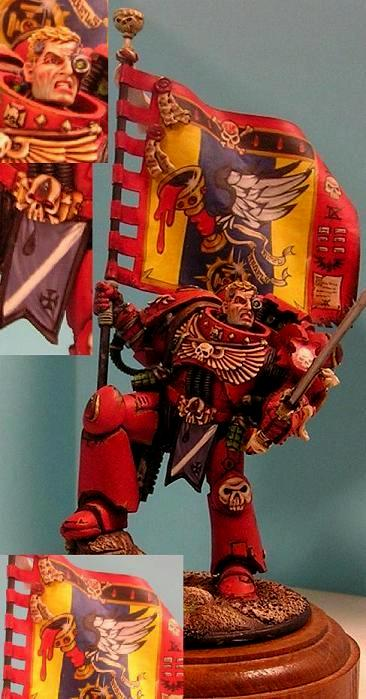 54mm, Banner, Blood Angels, Space Marines, Standard Bearer