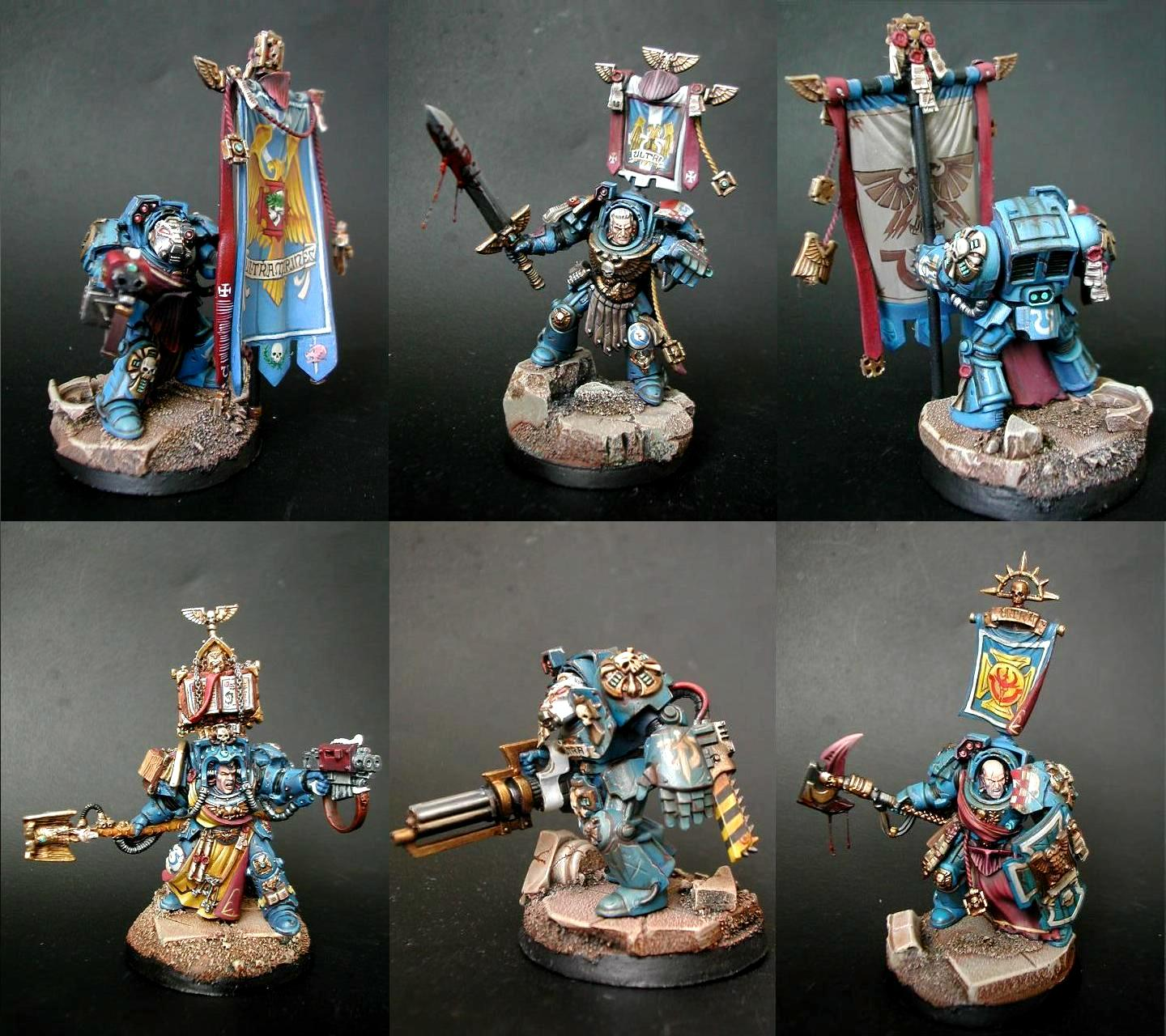 Blood Effects, Command Squad, Space Marines, Terminator Armor, Ultramarines