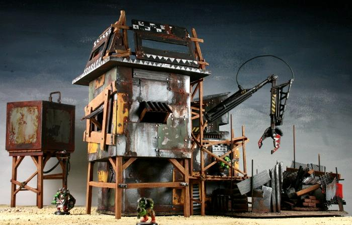 Garage, Mechanic, Mekboy, Orcs, Orks, Scratch Build, Space Ork, Terrain