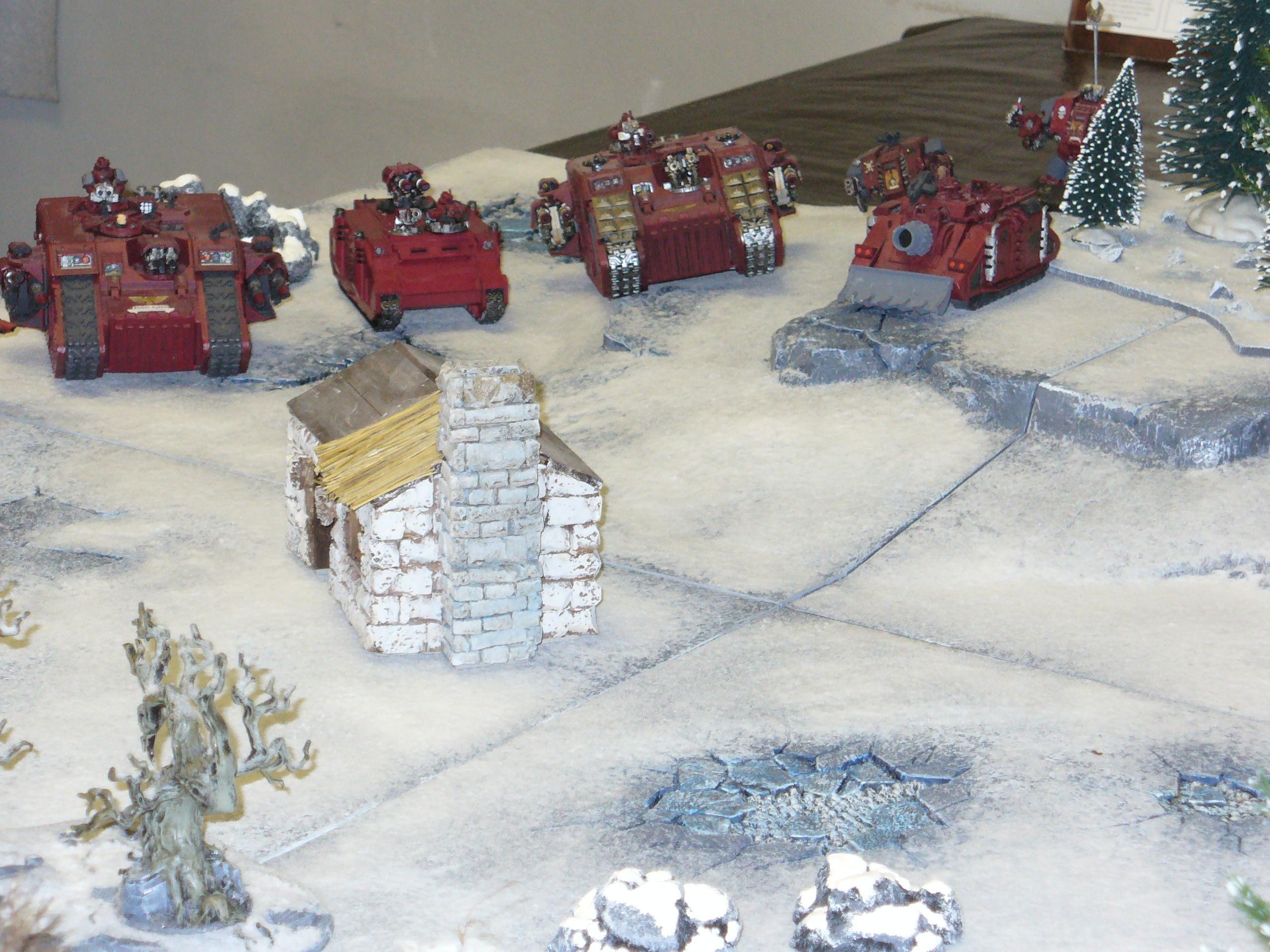 Battle, Land Raider, Snow, Space Marines, Warhammer 40,000