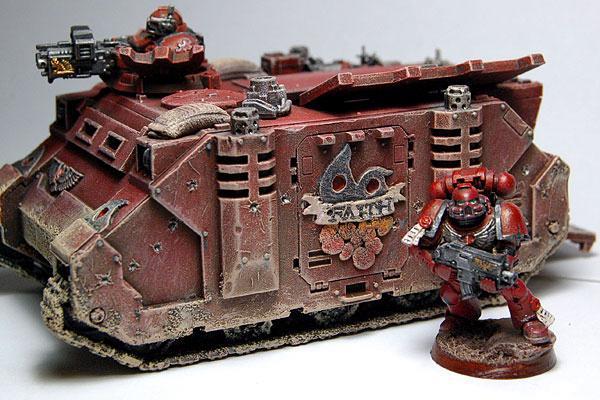 Conversion, Rhino, Space Marines, Warhammer 40,000, Weathered