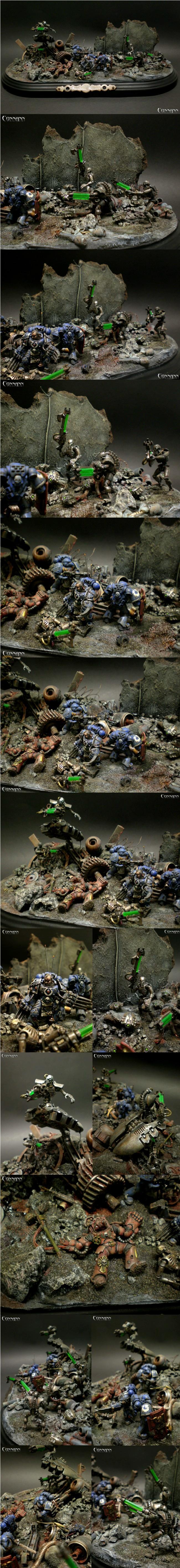28mm, Diorama, Necrons, Space Marines, Ultramarines, Warhammer 40,000