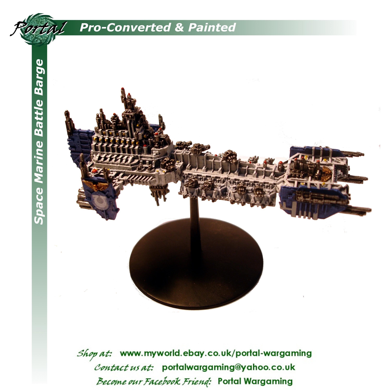 Battle Barge, Battlefleet Gothic, Pro-converted, Pro-painted, Space Marines, Ultramarines