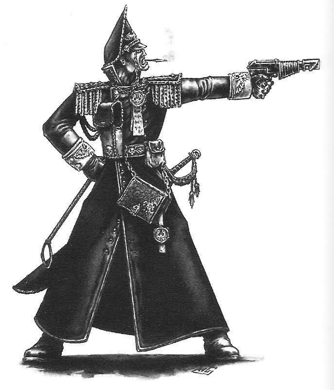 2nd Edition, Artwork, Commissar, Copyright Games Workshop, Imperial Guard, Retro Review