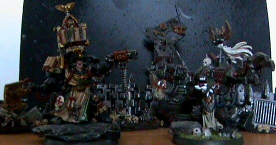 Orks, space marine librarian and ork warboss
