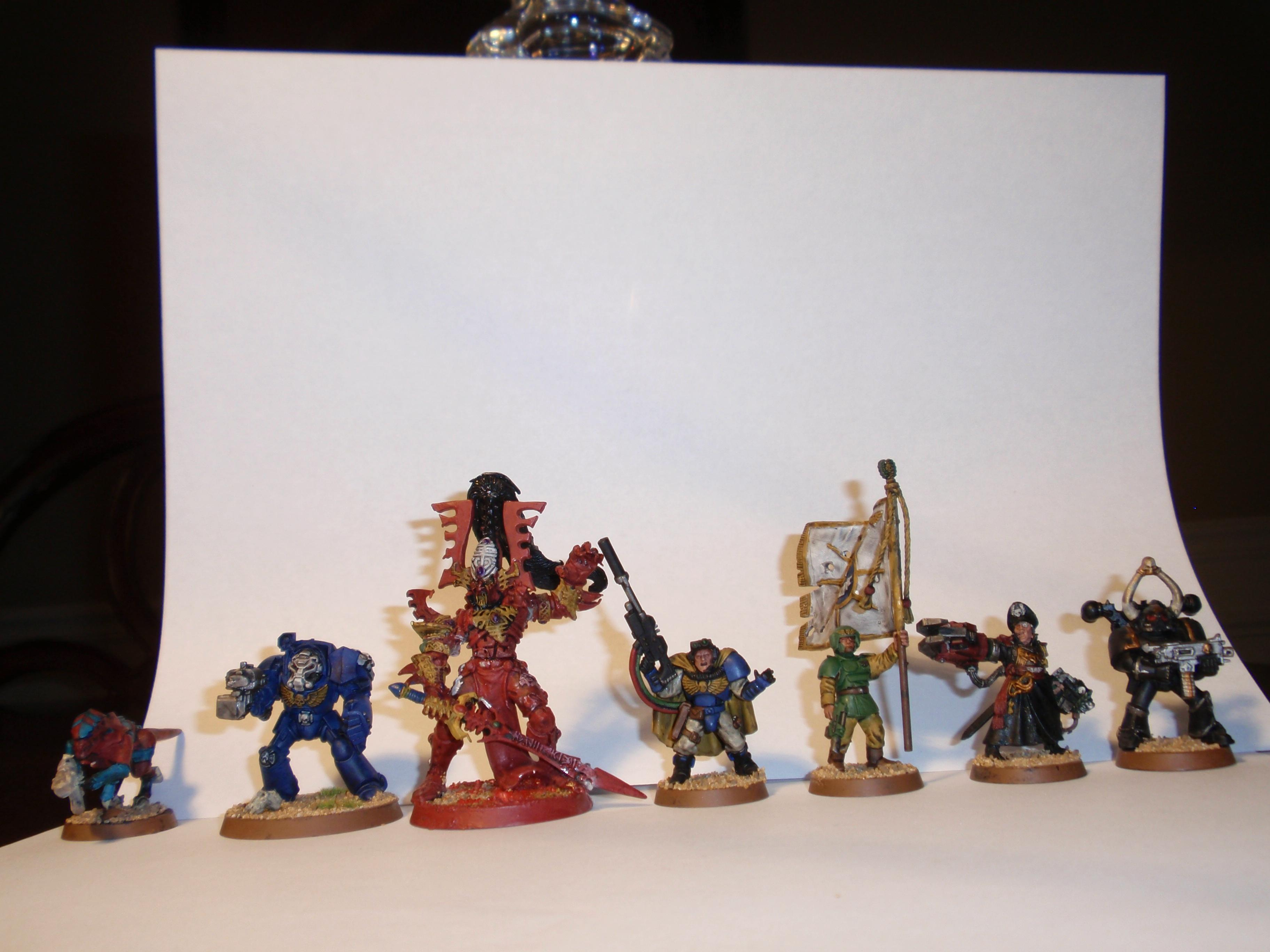 Avatar, Chaos Space Marines, Commisar Yarrick, Imperial Gurad Standard Bearer, Space Marine Scout Sergeant, Termagants, Terminator Armor
