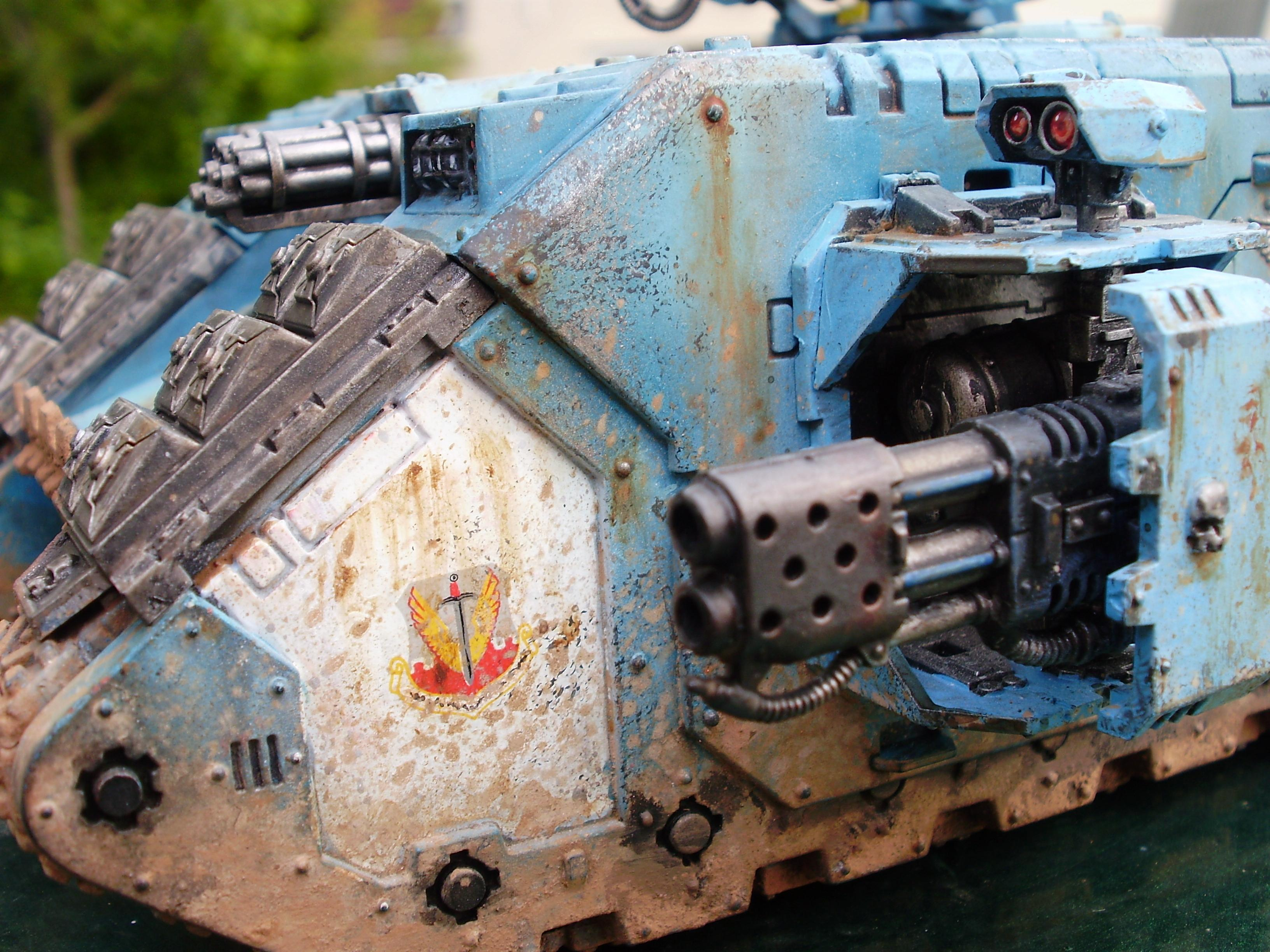 Close Up, Damage Detail, Dirty, Flamestorm Cannon, Land Raider Crusader, Mud, Space Marines, Sponson