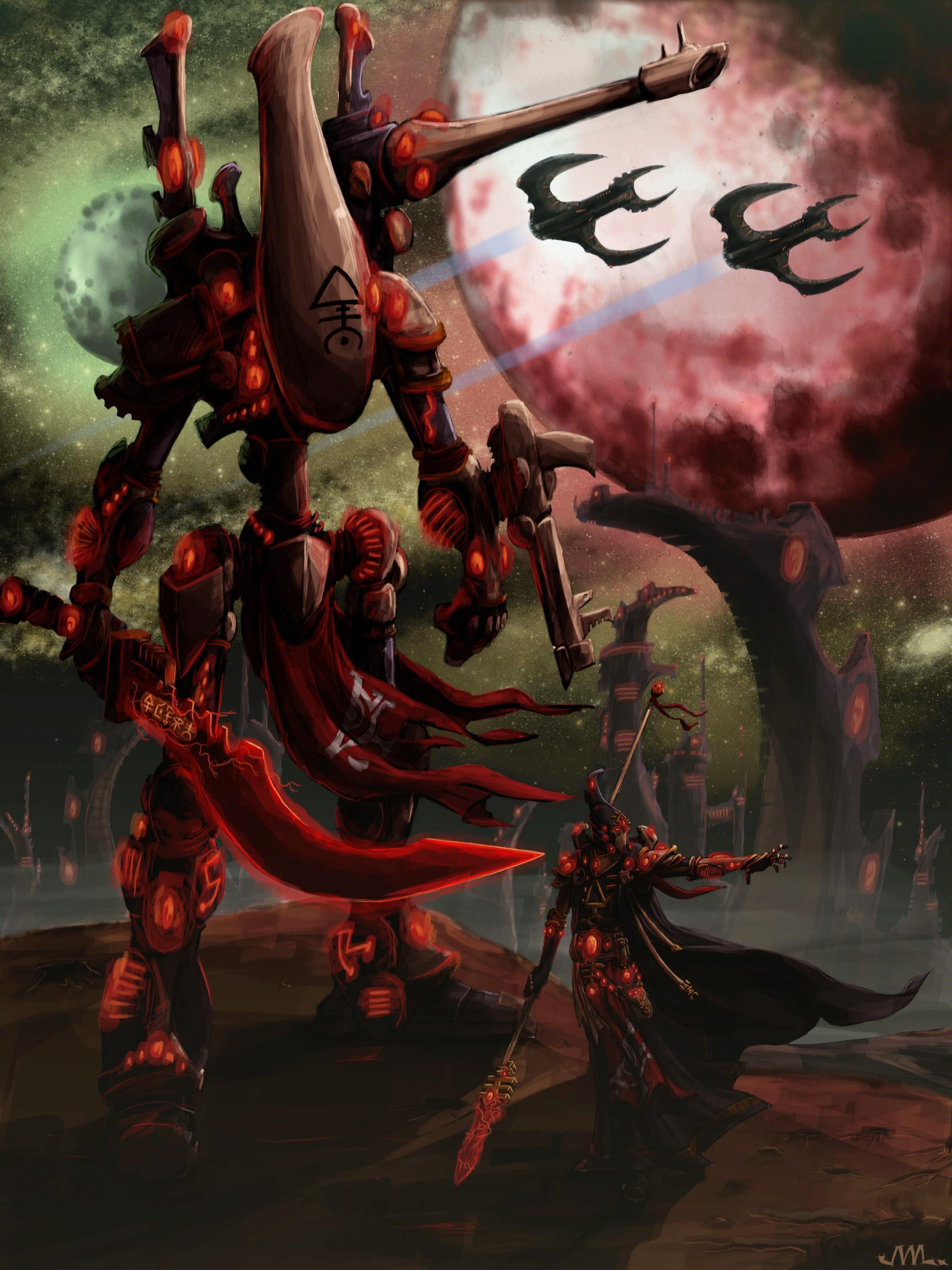 Artwork, Eldar, Farseer, Night, Painting, Wraithlord