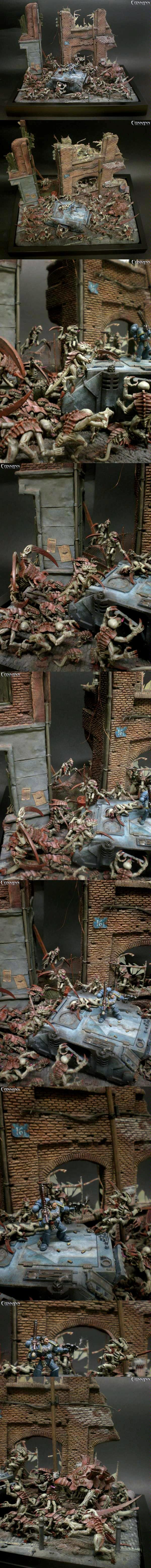 Diorama, Gi, Rhino, Terrain, Tyranids, Ultramar, Ultramarines
