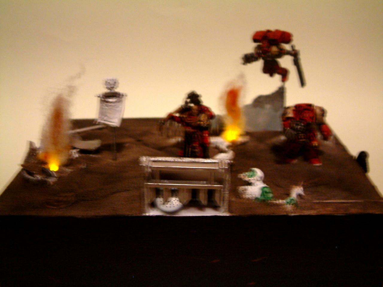 Blood, Blurred Photo, Dawn, Diorama, Fire, Of, Ravens, Smoke, Space, Space Marines, War, Warhammer 40,000