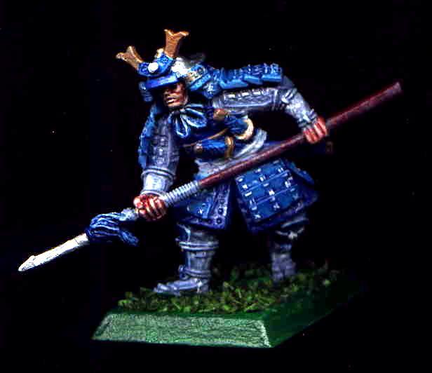 Blue, Bushi, Character, Clan War, Crane, L5r, Legend Of The Five Rings, Samurai, Spear, White, Yari