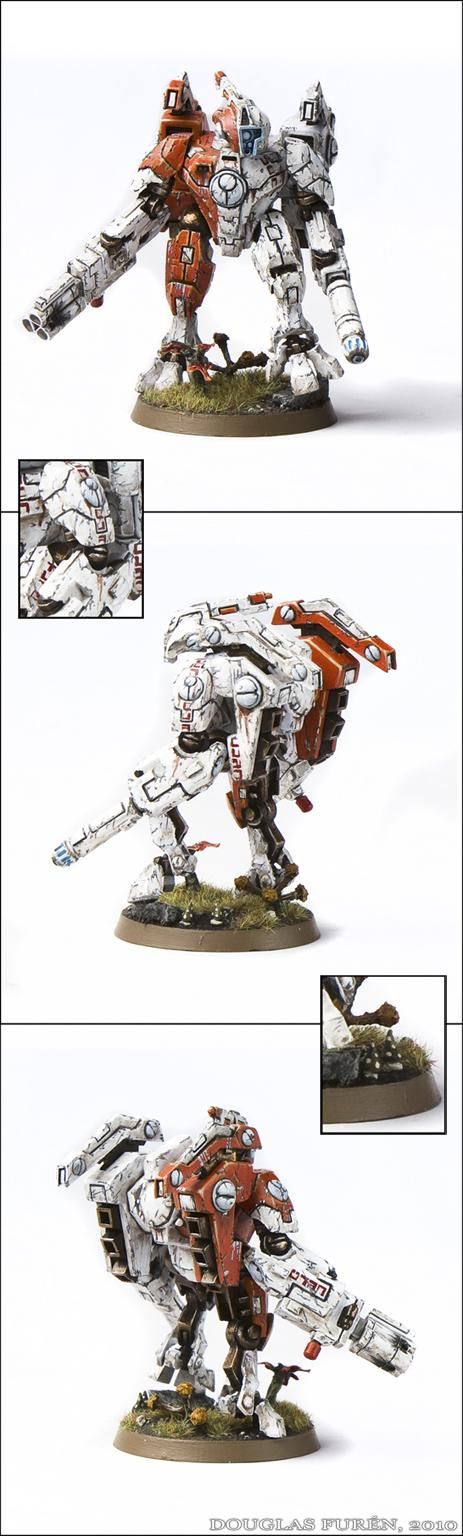 Battlesuit, Commander, Crisis Battlesuit, Forge World, Headquarters, Hunter Cadre, Sept, Shas'o, Tau, Tau Empire, Weathered