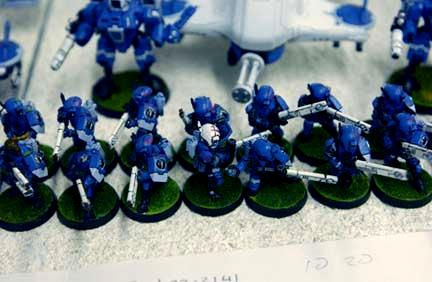 2003, Army, Blue, Carapace, Danger Planet, Fire Warriors, Infantry, Not My Photo, Pulse Rifle, Tau, Unit, Warhammer 40,000, White, Work In Progress