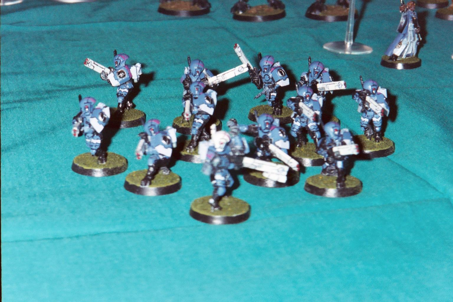 Blue, Carapace, Fire Warriors, Infantry, Pulse Carbine, Tau, Unit, Warhammer 40,000