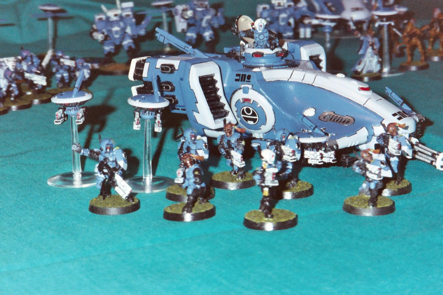 Blue, Carapace, Drone, Infantry, Pathfinders, Pulse Carbine, Tau, Transport, Unit, Warhammer 40,000