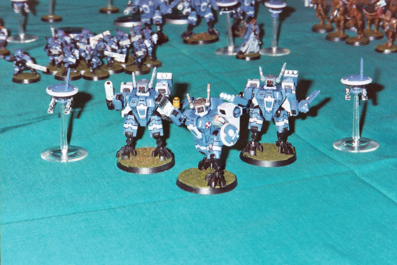 Blue, Crisis Battlesuit, Drone, Fusion Blaster, Headquarters, Missile Launcher, Plasma, Shield, Tau, Unit, Warhammer 40,000, XV8