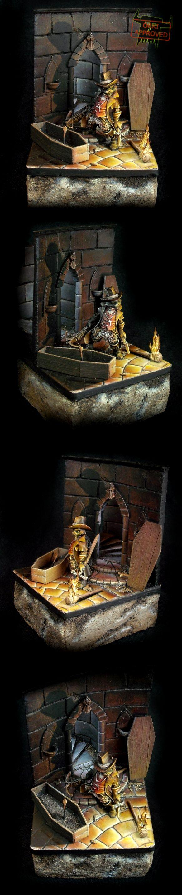 Cat Van Helsing, Coffin, Fire, Light, Moonlight, Object Source Lighting, Shadow, Tale Of War, Tomb, Vampire Hunter