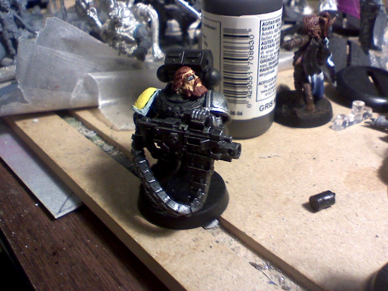 Black, Deathwatch, Devastator, Heavy Bolter, Infantry, Power Armor, Silver, Space Marines, Space Wolves, Warhammer 40,000, Work In Progress