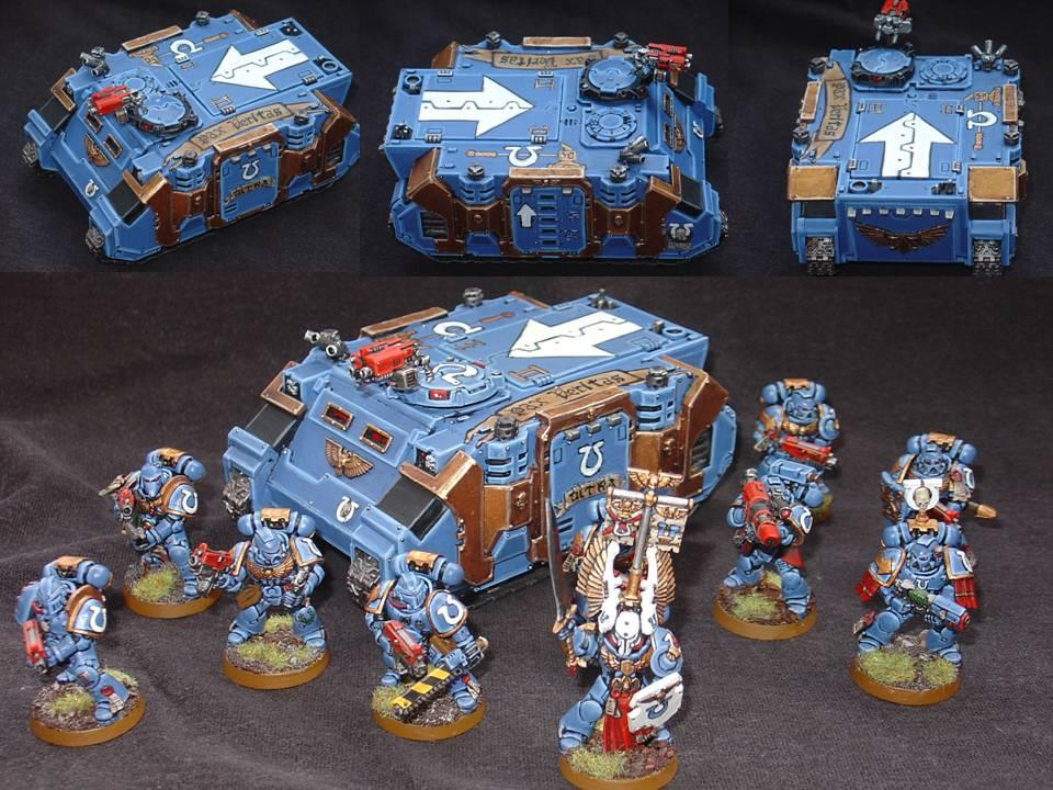 Rhino, Space Marine Conversions, Space Marines, Tactical Squad, Ultramarines