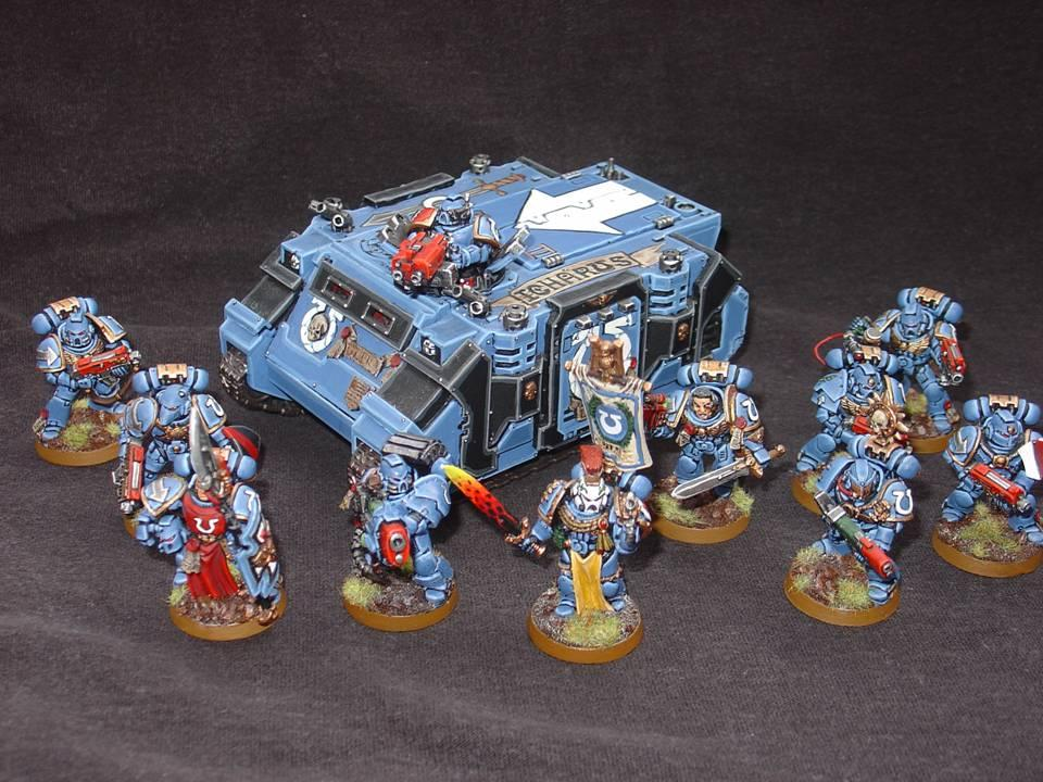Banner, Rhino, Space Marines, Tactical Squad, Ultramarines