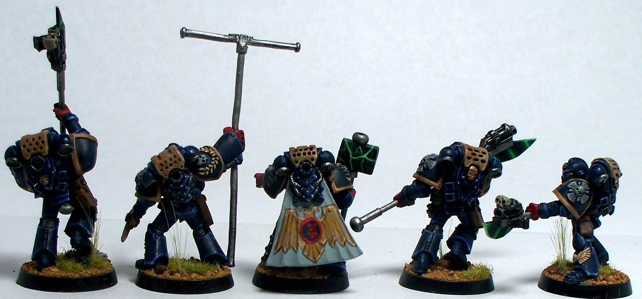 Chapter Champion, Crimson Fists, Freehand, Honor Guard, Imperium, Space Marines, Standard Bearer, Warhammer 40,000