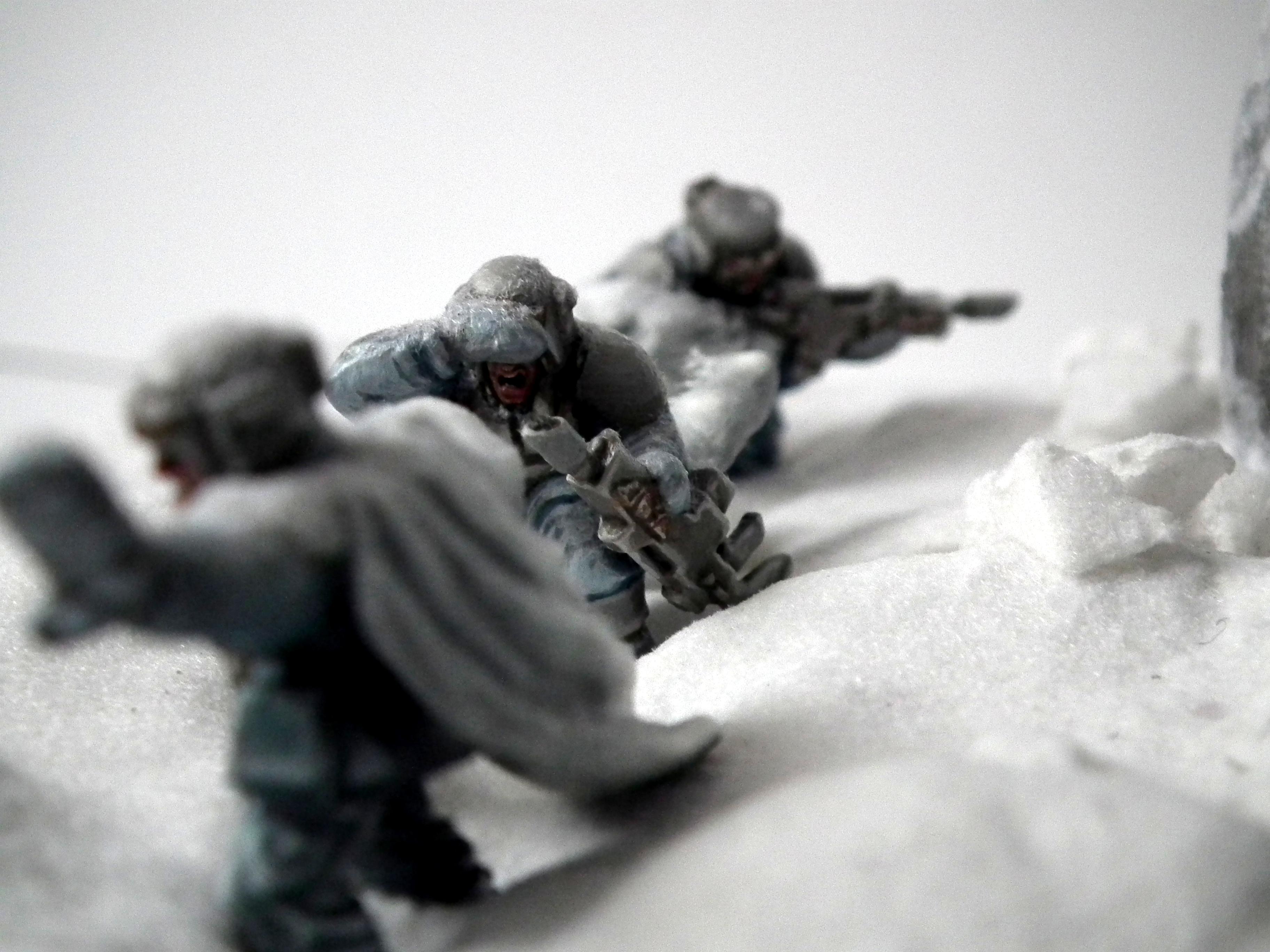 Ambush, Camouflage, Diorama, Duel, Hills, Imperial Guard, Nice, Pathfinders, Perfect, Pva, Snow, Warhammer 40,000, White, Wind, Winter