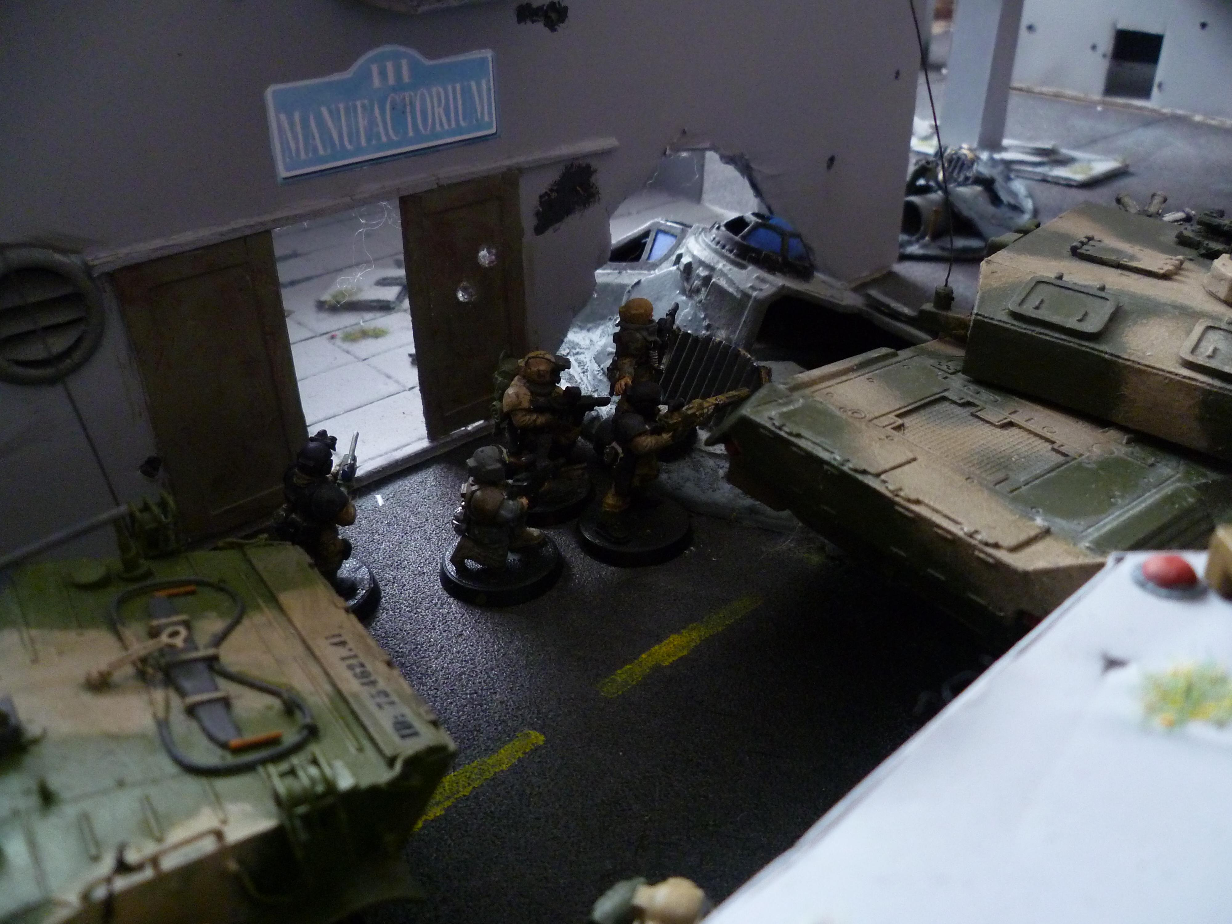 Aquila, Barricade, Buildings, Chimera, Cities Of Death, City, Dragon Teeth Tank Traps, Guardsmen, Hotel, Imperial, Imperial Guard, Imperium, Industrial City, Industry, Lander, Landing Pad, Ruined, Ruins, Snipers, Stalingrad, Street, Tank Traps