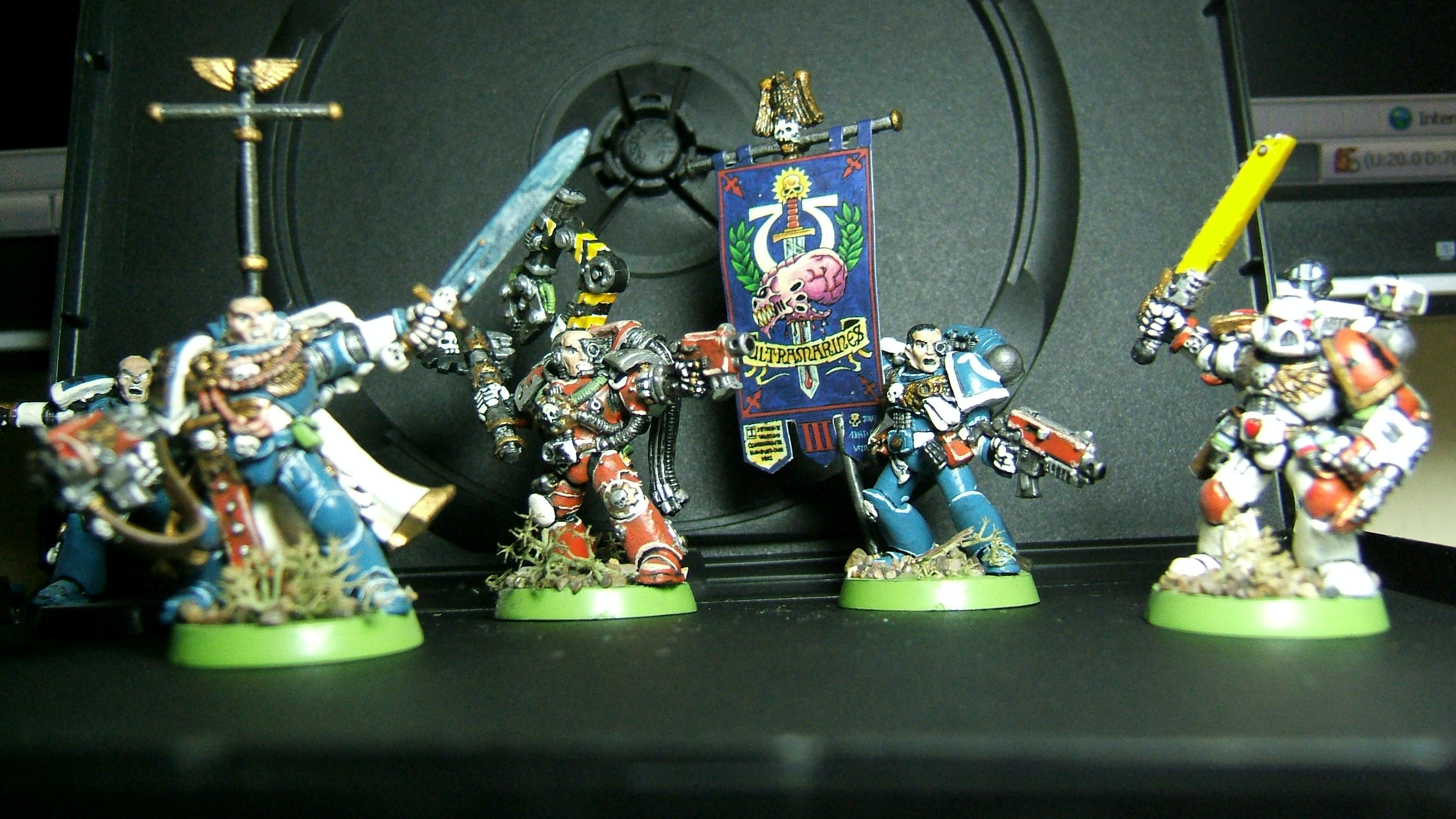 Army, Command Squad, Head Quarters, Infantry, Leaders, Space Marines, Ultramarines, Warhammer 40,000