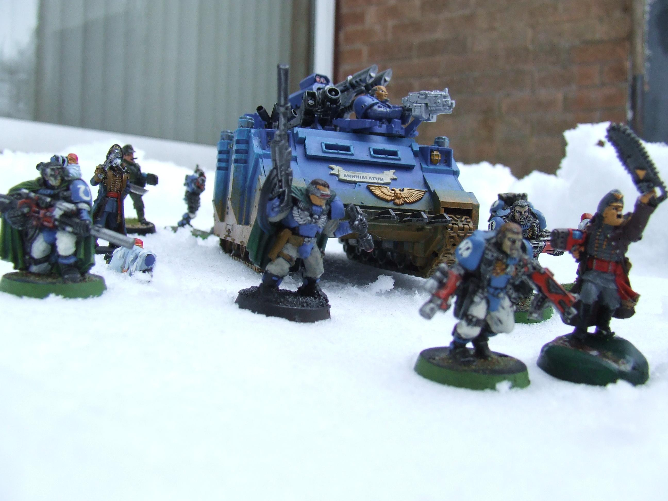 Imperial Guard, Rhino, Snow, Space Marines, Ultramarines