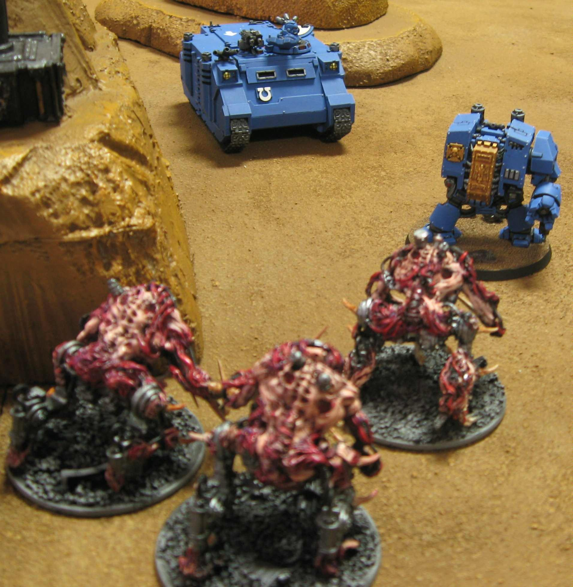 Tournament, Round 1 game, Bloodcrushers face off against venerable dreadnought