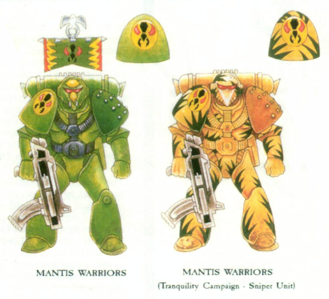 Artwork, Copyright Games Workshop, Mantis Warriors, Rogue Trader, Snipers, Space Marines, Tranquility, Warhammer 40,000