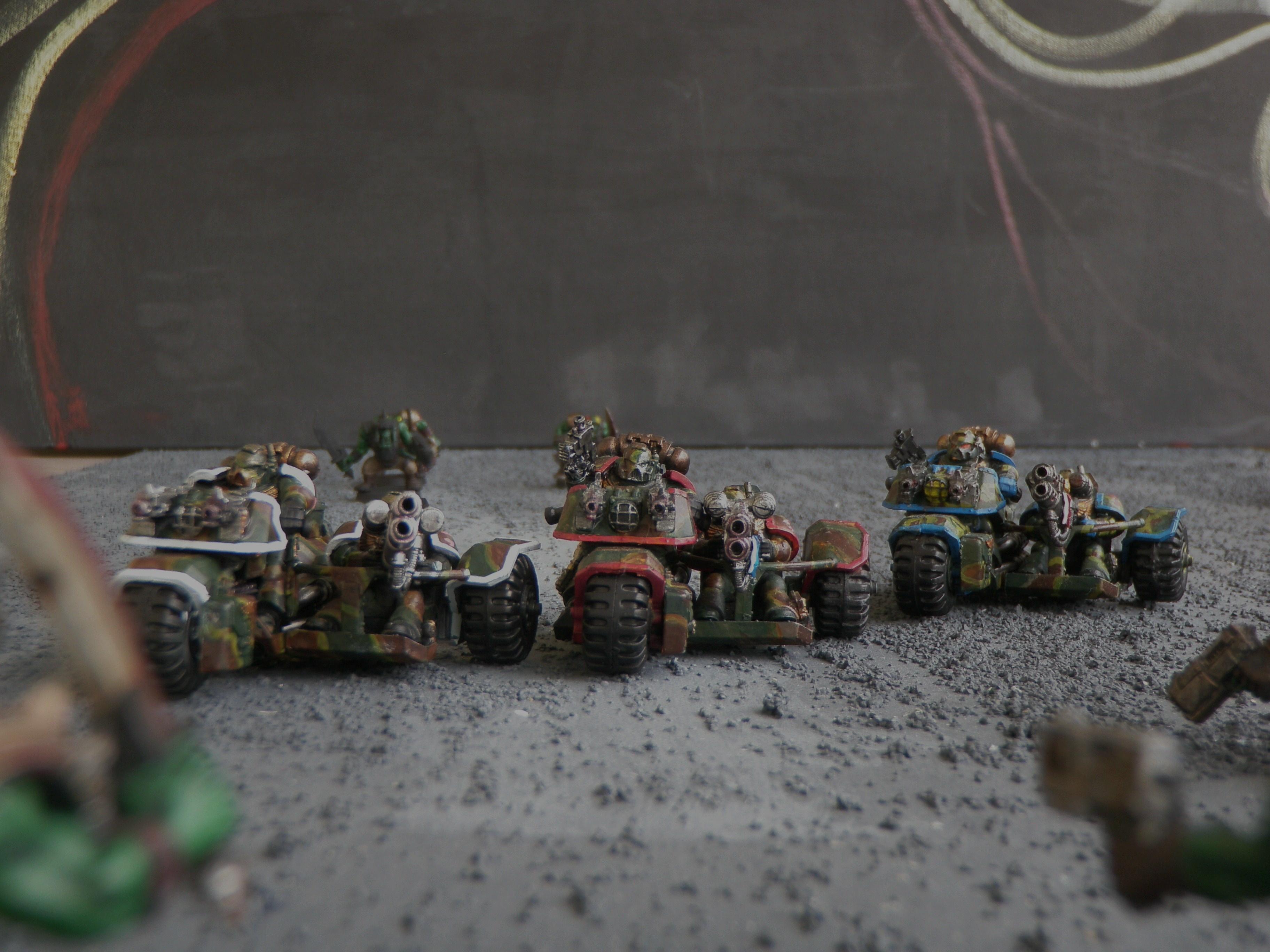 Attack, Attack Bikes, Bike, Camouflage, Multi-meltas, Space Marines