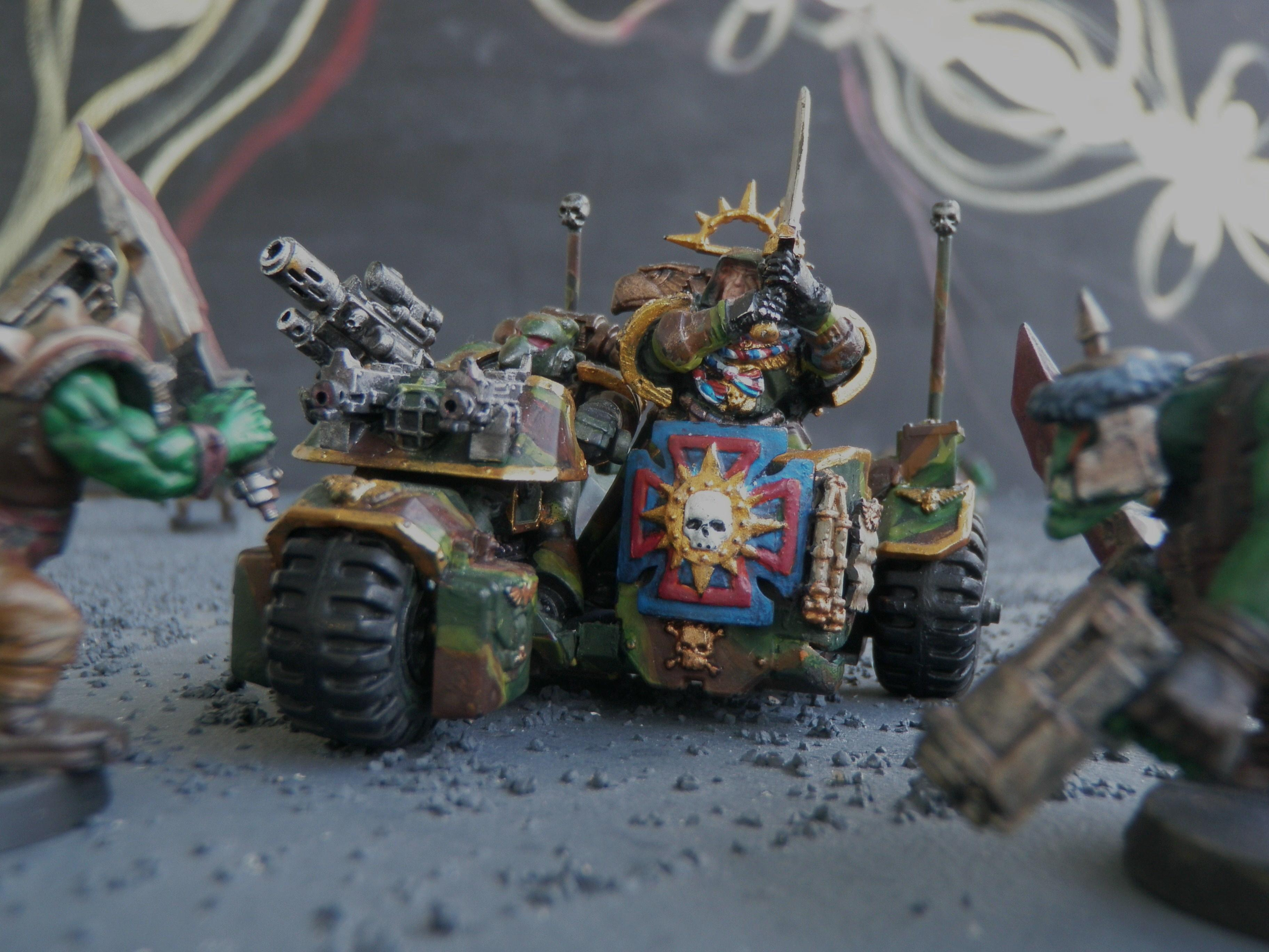 Bike, Camouflage, Captain, Side-car, Space Marines