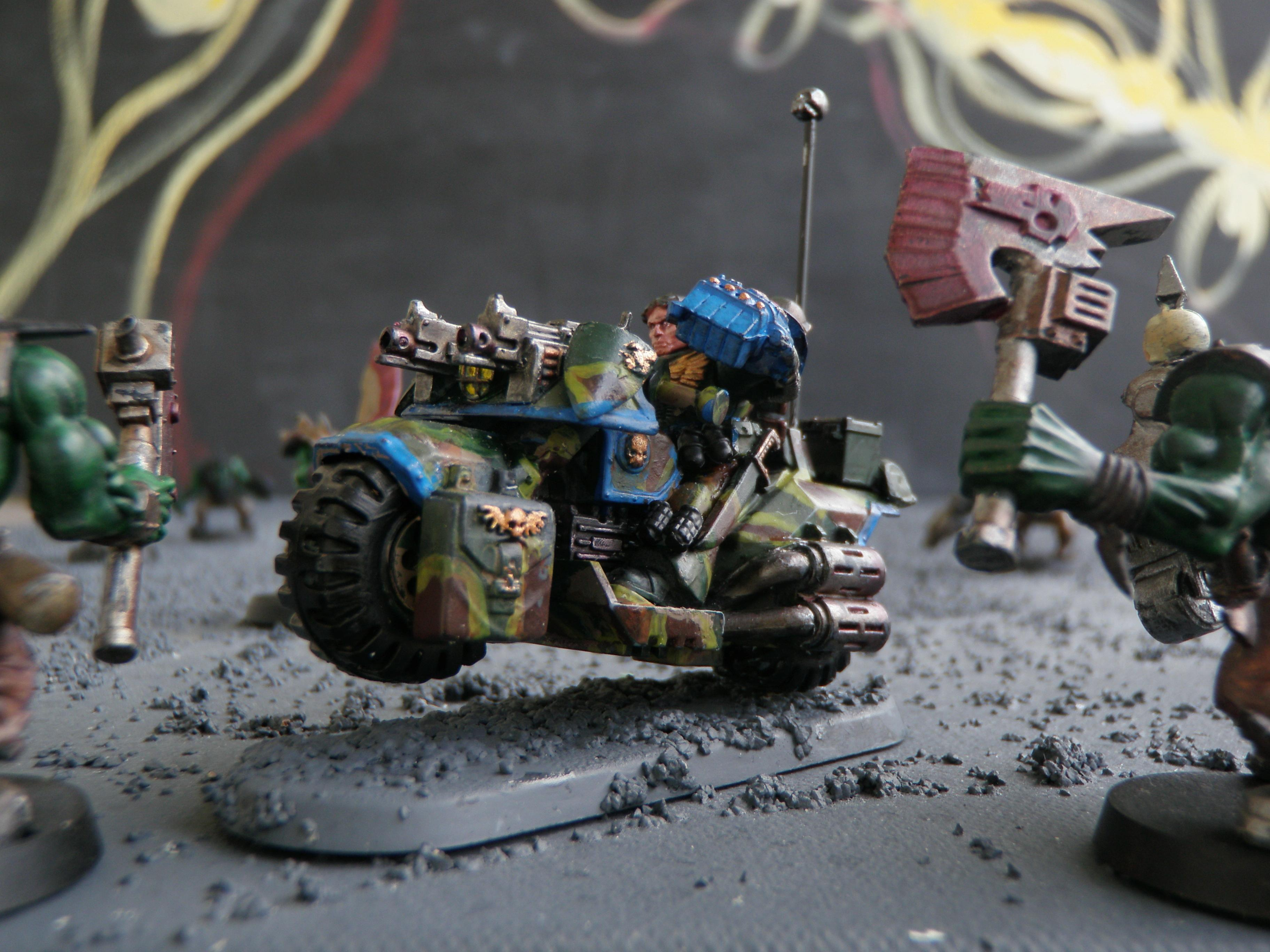 Bike, Camouflage, Grenades, Power Fist, Sergeant, Space Marines