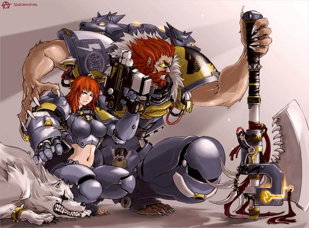 Artwork, Female, Fenrisian Wolf, Furry, Sexy, Space Marines, Space Wolves, Warhammer 40,000